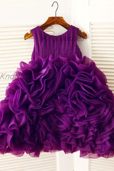 Purple Organza Ruffle Ball Gown Flower Girl Dress by knothouses