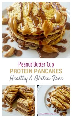 Healthy & Gluten Free Peanut Butter Cup Protein Pancakes