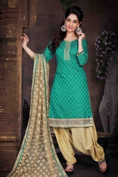 Sea Green Jacquard Patiala Suit With Embroidered Dupatta