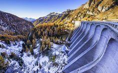 Trentino Alto Adige, dam, mountains, winter, Canazei, Italy