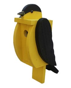 BIG BOLD & BEAUTIFUL Amish Handmade American Goldfinch Solid Wood Bird House What an awesome, unique bird house. Extremely solid piece looks fantastic mounted on a fence post, etc. Beautiful enough to More #birdhouseideas #buildabirdhousekit