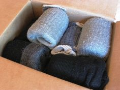 You can pack mason jars safely away with one wool sock for each mason jar. Keeps them very safe and protected!
