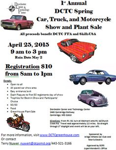 April 25th, 2015 in Cambridge, MD: Car, Truck & Motorcycle Show at Dorchester Career & Technology Center. Plant sale too. #cambridgemd #April25th #carshow #easternshore #maryland #dorcestercounty http://www.dctcgreenhouse.com/dctc-spring-car-show-event.html