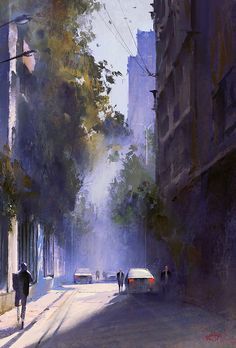 Kai Fine Art is an art website, shows painting and illustration works all over the world. Watercolor Architecture, Watercolor Landscape Paintings, Watercolor Artwork, Cityscape Art, Watercolor Pictures, City Landscape, Urban Sketching, Environmental Art, City Art