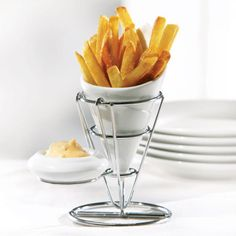 Fries For Me French Fry Holder in White and Silver