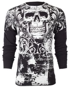 Archaic AFFLICTION Mens THERMAL T-Shirt KILLROY Skull Tattoo Biker UFC M-3XL $58 #Affliction #GraphicTee
