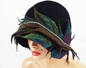 Cloche hat Felted hat Flapper Hat Designer Hat Black by filcant