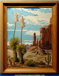 Paint by numbers paintings found at junk sales - California Landscapes.