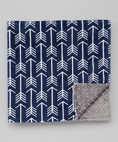 """Another great find on #zulily! 19"""" x 19"""" Charcoal & Navy Arrow Minky Blanket #zulilyfinds"""