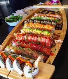 ❗️How about having sushi boat for your dinner❓. Sushi Recipes, Asian Recipes, Cooking Recipes, Healthy Recipes, I Love Food, Good Food, Yummy Food, Sushi Boat, Sushi Platter