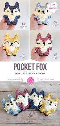 Crochet Toys Ideas Pocket Fox Free Crochet Pattern - Pocket Fox is a small pocket friend that you can always have with you, wherever you go! This ragdoll soft toy is very easy to make, looks great in many Crochet Toys Patterns, Amigurumi Patterns, Stuffed Toys Patterns, Crochet Dolls, Knitting Patterns, Crochet Pattern, Free Pattern, Fast Crochet, Cute Crochet