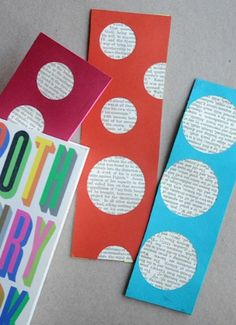 DIY cute Book Page Bookmarks.  Cut pages of discarded books into shapes and glue them onto bookmarks. Punch hole in top and add ribbon.