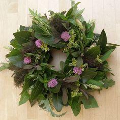 Fresh summer herb wreath