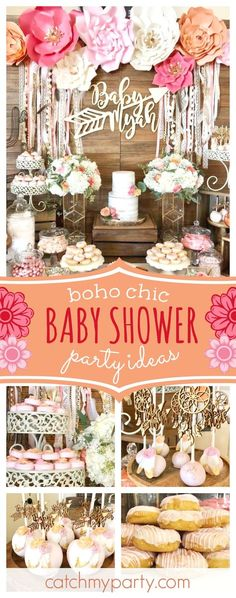 Take a look at this wonderful boho chic baby shower! The cake pops are gorgeous!! See more party ideas and share yours at CatchMyParty.com #partyideas #bohochic #babyshower