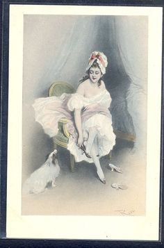 QL189 a/s ROSSI BEAUTIFUL LADY NAKED SHOULDERS DOG SHOES Fine LITHO