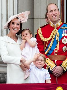 June 11, 2016. On the Palace balcony for the Royal Air Force fly-past, at Trooping the Colour. Princess Kate, Princess Charlotte, Prince George and Prince William.