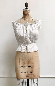 Fresh Air Camisole / antique Edwardian top / 1910s antique corset cover