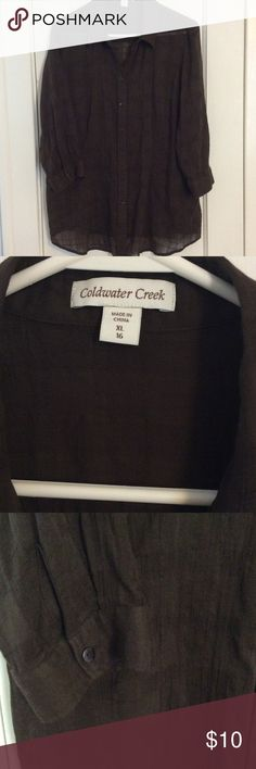 Coldwater Creek! Brown sheer 3/4 sleeve blouse! Lightweight, with a textured thread! Worn once! Very nice! Coldwater Creek Tops Blouses