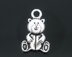 6 Silver Tone Metal TEDDY BEAR Reversible Pendant Charms by SmartParts, $2.19  alpha phi, kappa delta for jewelry making, craft supplies