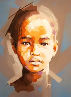 """Artist: Solly Smook; Acrylic 2013 Painting """"children of ngepi 1"""""""