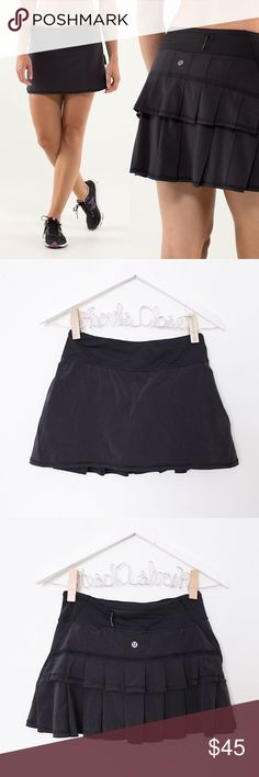 """Black Pleated Tennis Running Skort Lululemon 'Pace Setter Skirt' ⑊ Size 2  ⌁ Measurements: 25"""" waist 12"""" skirt length 8"""" short rise 3.5"""" inseam  ⌁ Material: no material tag  ⌁ Condition: Used a handful of times. No visible wear. Still looks new!  Comment below if you have any questions. Please make all offers using the """"offer"""" button. No trades. No holds. Comes from a smoke-free/pet-free home. Not responsible for lost/damaged mail. All sales are final. ♡ lululemon athletica Skirts Mini"""