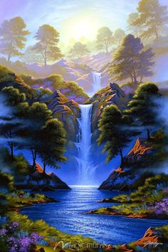 Where Beauty Begins Wallpaper Wall Mural by Magic Murals is part of Nature paintings Where Beauty Begins by Jon Rattenbury, a wall mural from Magic Murals For the best combo of premium wall murals, - Beautiful Landscape Wallpaper, Scenery Wallpaper, Beautiful Landscapes, Beautiful Paintings Of Nature, Wall Wallpaper, Beautiful Nature Pictures, Amazing Nature, Beautiful Scenery, Beautiful Sites
