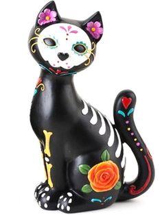 """Floral Kitty"" Skeleton Statue"