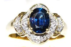 Natural Diamond Solitaire Blue Sapphire Ring 18K Yellow Gold [RS0125] BKGjewelry http://www.amazon.com/dp/B00CDO3CTM/ref=cm_sw_r_pi_dp_CWFmwb174MGMP