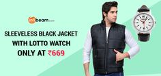 Sleeveless Black Jacket with Lotto Watch #GreatOffer #Hurry!!!