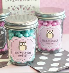 Personalized Baby Shower Owl Mini Mason Jars