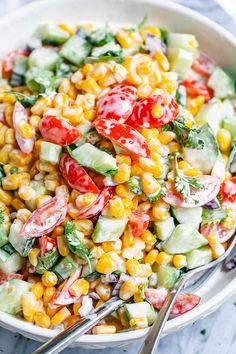 Creamy Corn Salad - - This crowd-pleasing fresh corn salad has amazing fresh flavor! Perfect for Potlucks and BBQs. - : Creamy Corn Salad - - This crowd-pleasing fresh corn salad has amazing fresh flavor! Perfect for Potlucks and BBQs. Chef Salad Recipes, Fresh Salad Recipes, Summer Salad Recipes, Healthy Salad Recipes, Summer Salads, Veggie Recipes, Cooking Recipes, Fresh Corn Recipes, Healthy Corn