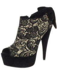 Jessica Simpson Women's Bootie,Black Taupe M US Haircalf upper with bow accent at hee. Lace High Heels, High Heels For Prom, Lace Pumps, Prom Shoes, Funky Shoes, Cute Shoes, Zapatos Shoes, Women's Shoes, Platform Shoes