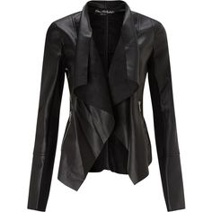 Miss Selfridge Waterfall Jacket, Black and other apparel, accessories and trends. Browse and shop related looks. Short Black Jacket, Short Leather Jacket, Black Biker Jacket, Vegan Leather Jacket, Leather Jackets, Moto Jacket, Biker Jackets, Waterfall Leather Jacket, Outerwear Jackets