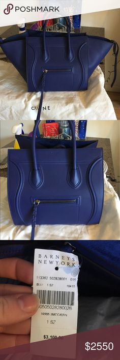 Celine Phantom - Medium in Blue Beautiful Celine bag in blue with blue suede interior. Was brand new in Jan 2017 and has only been used for a month with pouch inside to protect interior. Very minor wear on inside and almost perfect condition on the exterior.  I will add more pics later of inside and close ups of any blemishes. I have since lost the Barney's tag pictured but have the Celine documentation and dust bag. Please no trades or lowball offers. Can do cheaper on ️️ Celine Bags Totes