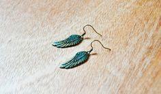 Pendientes de alas romanticas con acabado turquesa de Arts&Crafts por DaWanda.com