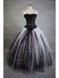 Romantic Black and White Gothic Corset Long Prom Dress