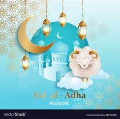 Eid al-Adha Banner. Card for traditional muslim holiday Kurban Bayram with sheep, moon, golden ornament, lamp and mosque for happy sacrifice celebration. Design for template. Feliz Eid Al Adha, Happy Eid Al Adha, Best Eid Mubarak Wishes, Eid Al Adha Greetings, Eid Adha Mubarak, Eid Mubarak Vector, Eid Crafts, Ramadan Crafts, Decoraciones Eid