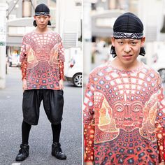 Harajuku Japan в Instagram: «@penixpeni on the street in Harajuku wearing a do-rag, a graphic top from Dog Harajuku, shorts over leggings, and Nike sneakers.»