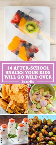 Easy and Healthy After-School Snacks Your Kids Will Love: Here you'll find easy ideas and recipes like Chocolate-Dipped Clementines, No-Bake Granola Bar Bites, Baked Garlic Parmesan Zucchini Chips, Frozen Yogurt Buttons, and more. Healthy Afternoon Snacks, Healthy Snacks For Kids, Healthy Foods To Eat, Healthy Eating, Kid Snacks, Easy Snacks, Healthy Recipe Videos, Healthy Recipes, Snack Recipes