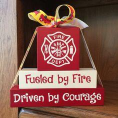 Gift for Firefighter - Gift for Fireman - Firefighter Gift - Firefighter Blocks - Kids Room Decor - Firefighter Bedroom, Firefighter Home Decor, Female Firefighter, Wood Block Crafts, Wood Crafts, Wood Blocks, Glass Blocks, Christmas Wood, Christmas Crafts