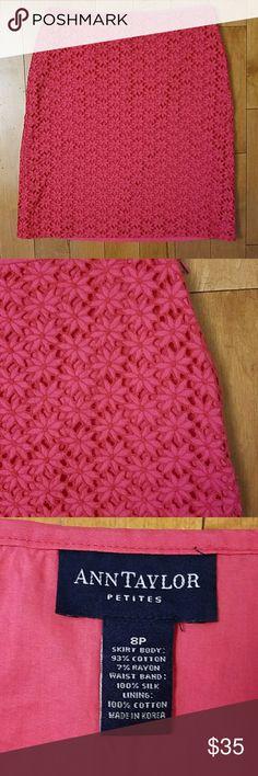 "Ann Taylor Petite Floral Lace Skirt Ann Taylor Petite Floral Lace Skirt in pink.  Size 8P.  Side zip, lined.  14.5"" across the waist.   20.5"" long. Ann Taylor Skirts"