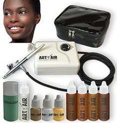 Art of Air DARK Complexion Professional Airbrush Cosmetic Makeup System / 4pc Foundation Set with Blush, Bronzer, Shimmer and Primer Makeup Airbrush Kit *** Be sure to check out this awesome product.