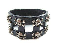 jewelry bangle bracelet women bracelet man bracelet punk bracelet rock bracelet Leather Bracelet Cuff made of black leather metal 0449 on Etsy, $9.00