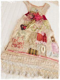 tasha tudor's sunday's best dress mixed media fabric.