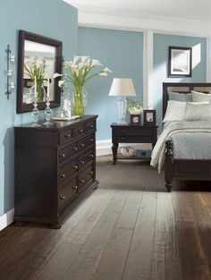 Duck egg blue with dark wood furniture: