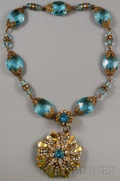 Vintage Miriam Haskell Gilt, Glass, and Rhinestone Necklace