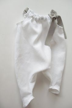 Linen baby girl overalls with bow. white by AdatineClothing, $36.00