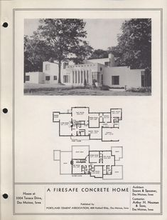 Iowa Concrete Houses, c. From the Association for Preservation Technology (APT) - Building Technology Heritage Library, an online archive of period architectural trade catalogs. Select an era or material era and become an arc Vintage House Plans, Modern House Plans, House Floor Plans, Vintage Houses, Casa Art Deco, Art Deco Home, Bauhaus, House Of Tomorrow, Home Builders Association