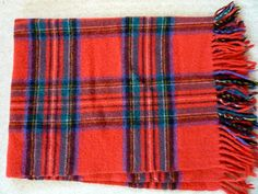 Red Wool Tartan Plaid Stadium Blanket Vintage 1960's.