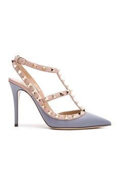 a8f94d22f03 Image 1 of Valentino Rockstud Leather Slingbacks T.100 in Grey Blue  Slingback Shoes